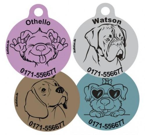 Hundemarken mit Wunschname und Hundemotiv von Anfalas.de