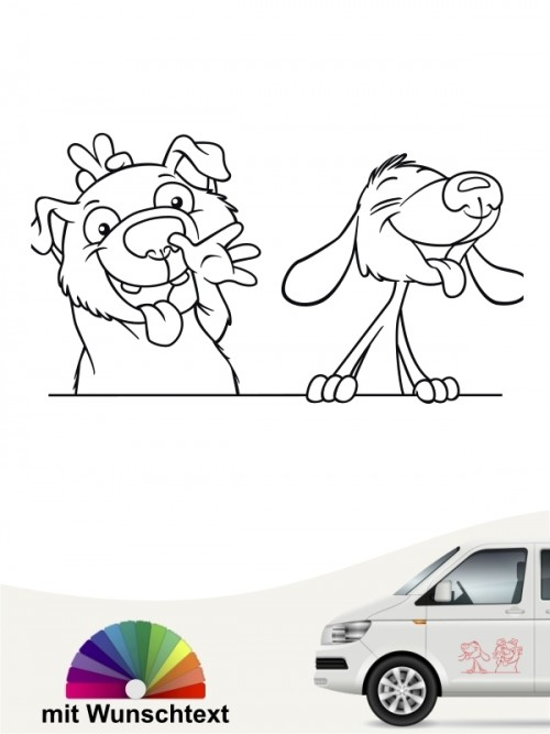 Hundecomic Autosticker mit Wunsname von anfalas.de
