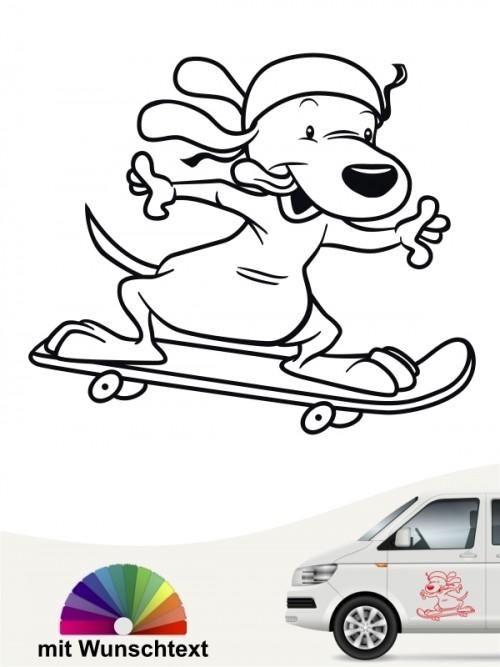 Lustiger Comic Sporthund Aufkleber von anfalas.de