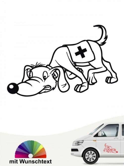Lustiger Rettungshund Suchhund Comic Aufkleber von anfalas.de