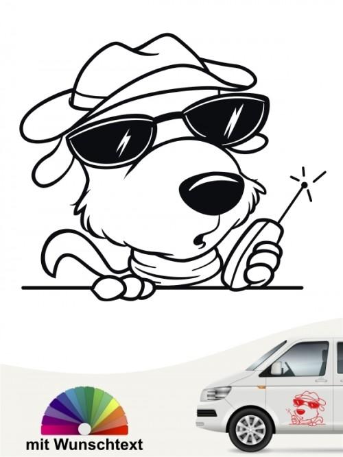 Comic Hunde Autoaufkleber mit Wunschtext von anfalas.de