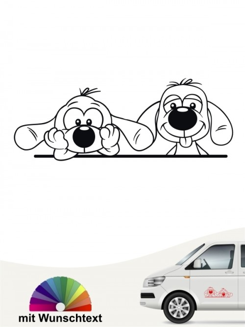 Comic Hunde Heckscheibenaufkleber von anfalas.de