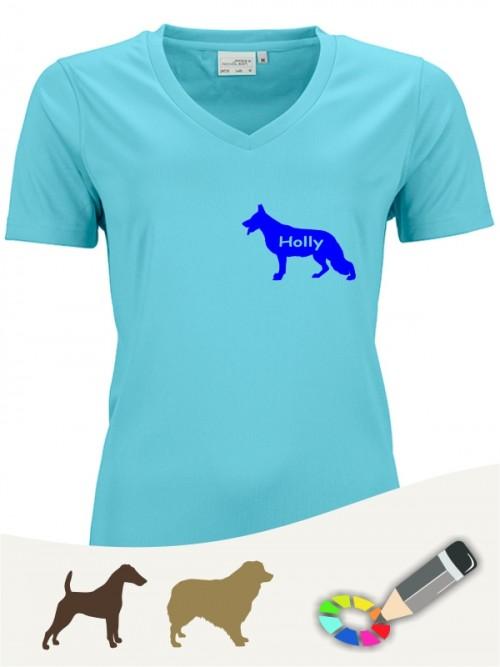 Damen Active V-Shirt für Hundefreunde