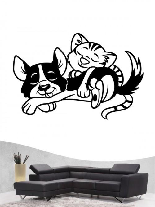 Hund & Katze 1a - Wandtattoo