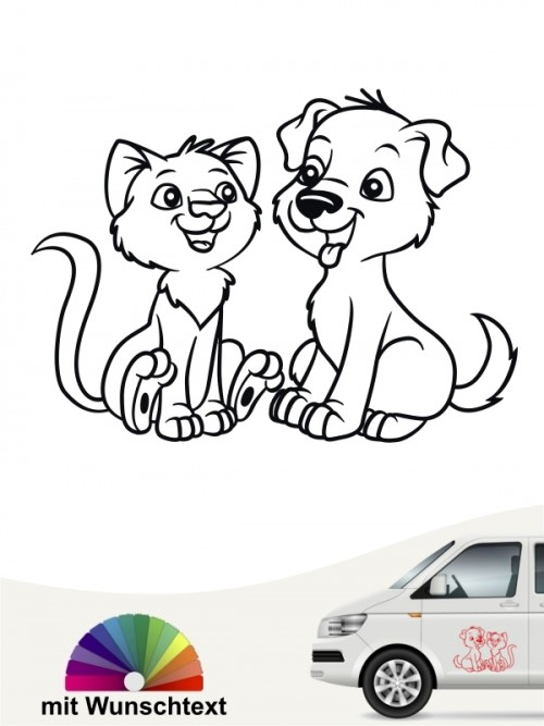 Hunde-Autoaufkleber Hund & Katze 2 von Anfalas.de
