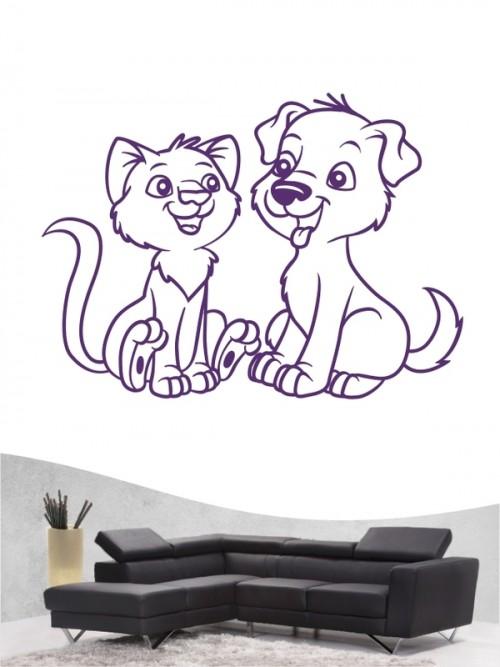 Hund & Katze 2 - Wandtattoo