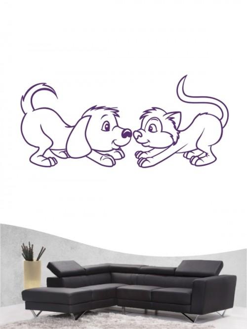 Hund & Katze 3 - Wandtattoo