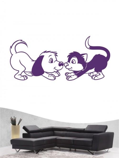 Hund & Katze 3a - Wandtattoo