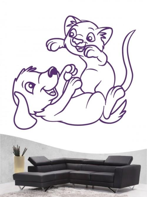Hund & Katze 4 - Wandtattoo
