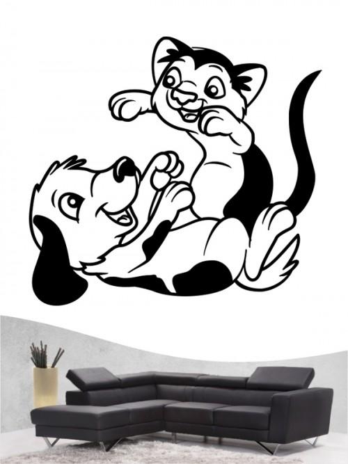 Hund & Katze 4a - Wandtattoo