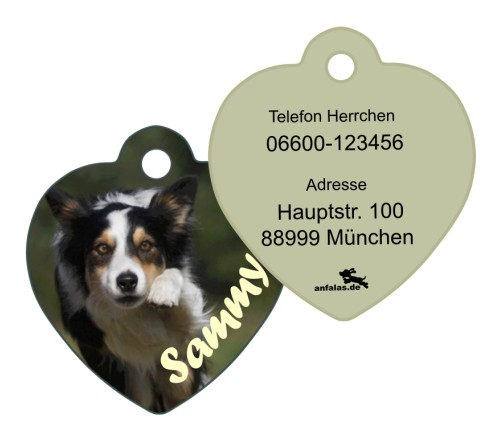 Anfalas.de | Hundemarke vom eigenen Foto in Herzform