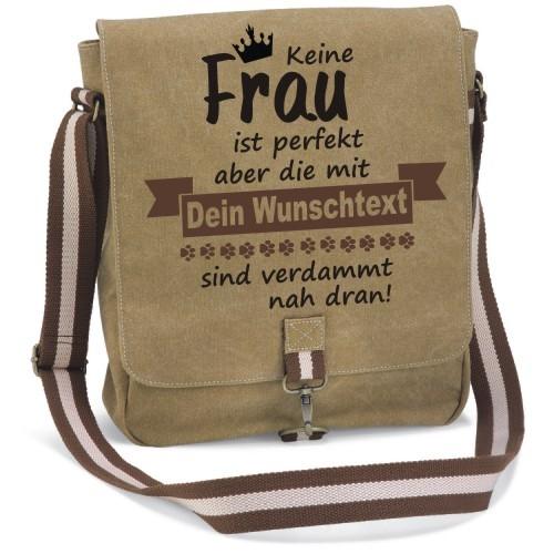 """Canvas Tasche """" Keine Frau ist perfekt"""" von anfalas.de"""