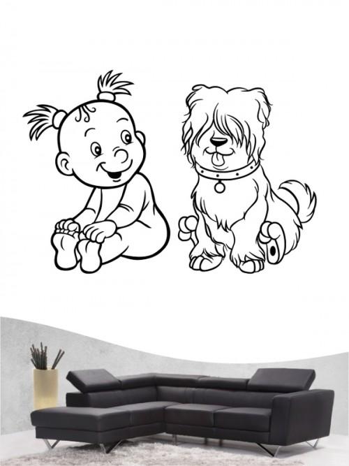 Kind & Hund 23 - Wandtattoo