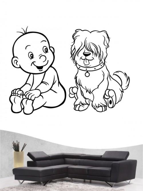 Kind & Hund 24 - Wandtattoo