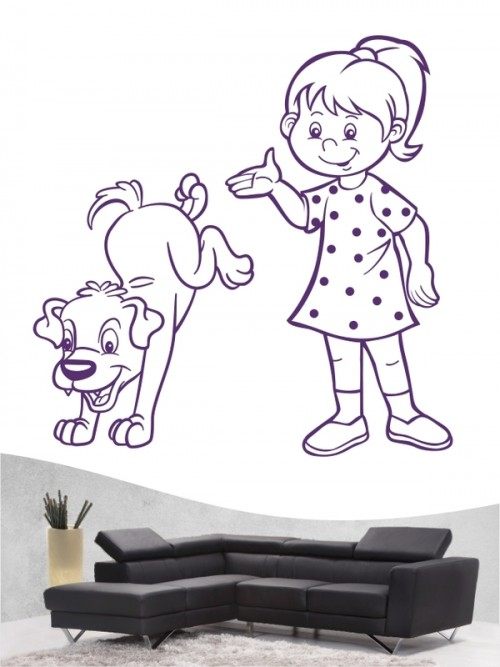 Kind & Hund 30 - Wandtattoo