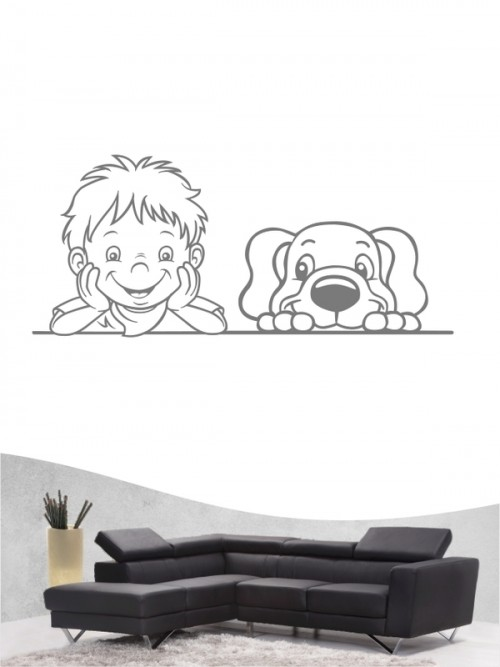 Kind & Hund 37 - Wandtattoo
