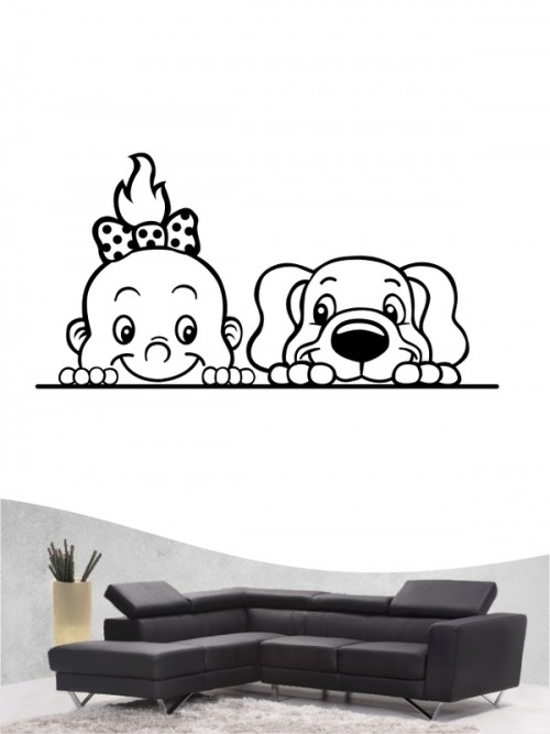 Kind & Hund 4 - Wandtattoo