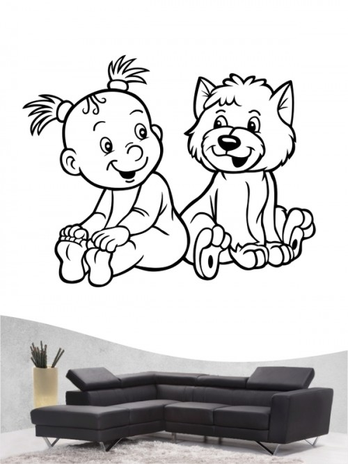 Kind & Hund 5 - Wandtattoo