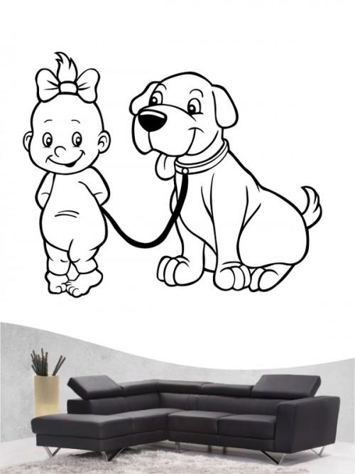 Kind & Hund 6 - Wandtattoo