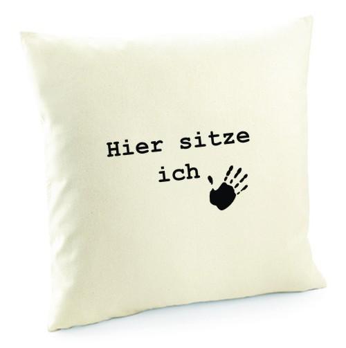 """Kissenbezug """"Hier sitze ich"""" von anfalas.de"""