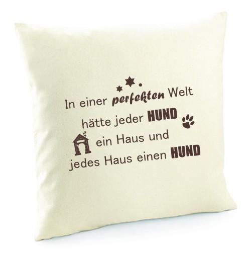 """Kissenbezug """"In einer perfekten Welt"""" von anfalas.de"""