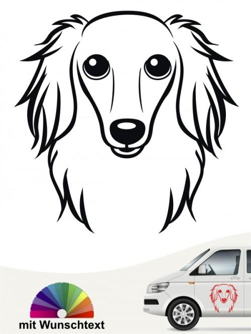 Hunde-Autoaufkleber Langhaardackel Comic von Anfalas.de