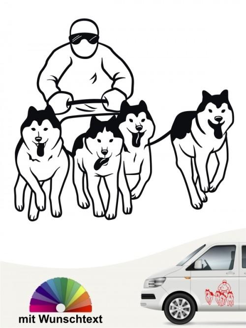 Schlittenhunderennen Aufkleber für das Auto von anfalas.de