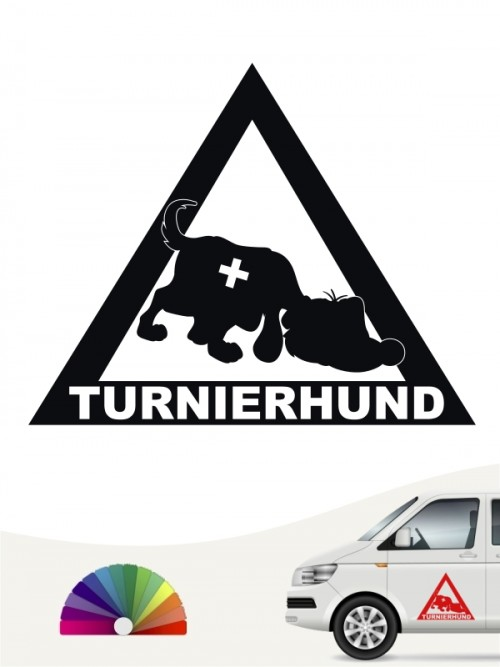 Lustiger Turnierhund Comic Aufkleber anfalas.de